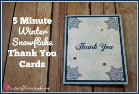 snowflake thank you cards 5 minute pretty winter thank you cards creatively homemade