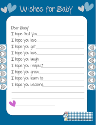 Wishes For Baby Template Free Printable Baby Shower Wishes For The Baby Game