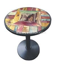 yaleeson 600mm 24 fashional young round table top with casting iron legs for 2
