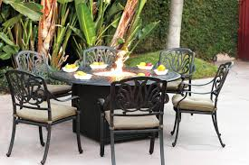 round propane fire pit table patio furniture dining set cast aluminum