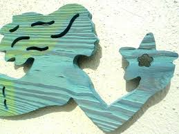 mermaid outdoor wall art metal wooden decor routed wood hanging large sc