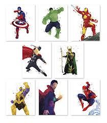 pgbureau superhero wall poster avengers infinity war art prints set of 8 hulk on marvel spiderman canvas wall art 4 piece with spider man posters spider man marvelous geeks