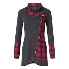 Jjliker Women Retro Plaid Printed Turtleneck Sweatshirt