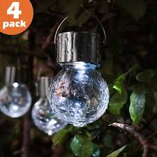 Gigalumi Hanging Solar Lights Torjim Hanging Solar Lights 4 Pack White Led Solar Crackle Glass Ball Lights Waterproof Outdoor Lanterns With Handle For Patio Garden Tree