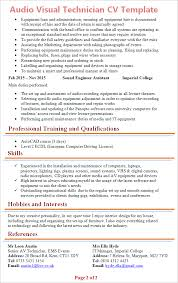 Ideas Collection Audio Visual Technician Resume Sample About Description