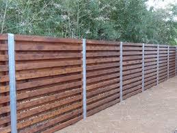horizontal wood fence with metal posts.  Horizontal Cedar Shadowbox Fence With 4 In Steelzinc Posts In Horizontal Wood Fence With Metal Posts