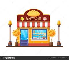 Autumn Modern City Bakery Shop Building Facade Store Stock