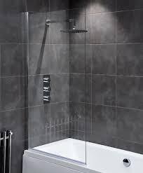 waterlux designer square silver clear bath shower screen