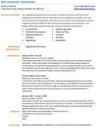 Electrician Cv Electrician Cv Example Learnist Org