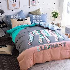 papa mima fashion elephant pattern cartoon kids bedding set 3 queen twin size cotton duvet cover set pillowcase bedsheet solid duvet covers bedroom linens