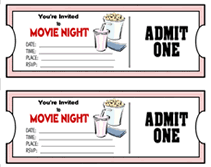 Printable Movie Ticket Theme Party Invitations Templates
