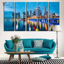 home decor print wall art picture set marina bay singapore skyline city night modern paintings 5