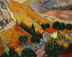 landscape painting landscape with house and ploughman by vincent van gogh