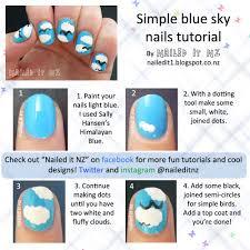 Nail art for short nails #10 - Blue sky nails