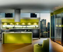 Modern Kitchens Of Syracuse Green Painted Island With Wooden Top Double Built In Oven Wood