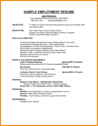 Employment Resume Examples Employment Resume Samples Sample Resume Employment jobsxs 1