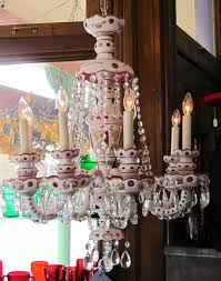 8 arm czechoslovakian crystal chandelier c1930 with 3 layers of glass cranberry clear