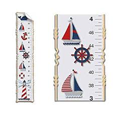 Nautical Growth Chart Growth Chart Nautical Ocean Boat Whale Anchor Wall Decals Vinyl Sticker Red White Blue Kid Height