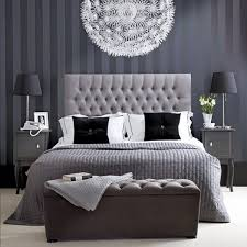 Tufted Headboard | Upholstered Furniture | Bedroom Ideas | Home Decor & IKEA Light | Monochrome Bedding | Stripe Wallpaper | Tufted Headboard |  Upholstered Furniture | Bedroom Adamdwight.com