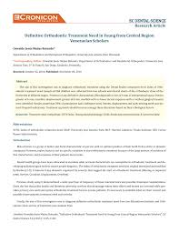 Pdf Definitive Orthodontic Treatment Need In Young From