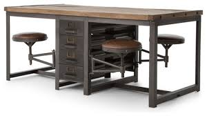 drafting table desk. Rupert Industrial Architect Work Table Desk With Attached Seating Drafting L
