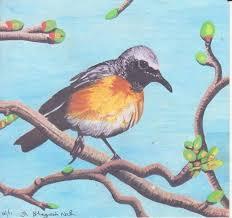 yellow bird on branch painting 17 8x17 cm 2016 by bhagvati nath