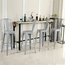 belleze 24 inch indoor outdoor counter height stool with back set of