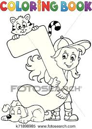 Pypus is now on the social networks, follow him and get latest free coloring pages and much more. Coloring Book Girl And Pets By Letter J Clipart K71898985 Fotosearch