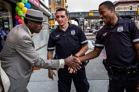 one police shift patrolling an anxious america the new york times officer bramble shaking hands a bedford stuyvesant resident while officer buchanan looked on credit natalie keyssar for the new york times