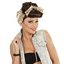 Net Toys Perruque Pin Up Coiffure Rockabilly Femme Marron