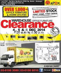 Furniture sale advertisement 25th Sell Apex Office Furniture Warehouse Sale Clearance Sungai Buloh 46 Dec 2014 Ads Sell Apex Office Furniture Warehouse Sale Clearance Sungai Buloh