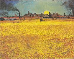 sunset wheat fields near arles 1888