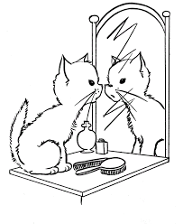 mirror coloring pages for kids. Cat On The Mirror Coloring Page Pages For Kids M