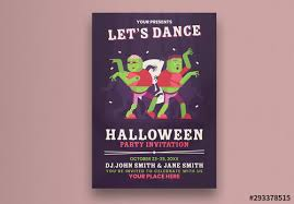 Halloween Dance Flyer Templates Halloween Party Flyer Layout With Dancing Zombies