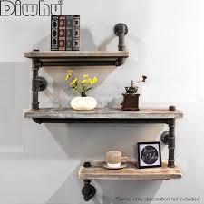 industrial pipe shelf wall mounted vintage wood rustic bookshelf diy 3 level