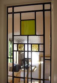 art deco leaded glass door panels detail