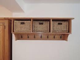 Oak Coat Rack With Baskets VANCOUVER PETITE SOLID OAK SHELF WITH COAT HOOKS X100 100 JUTE BASKETS 4