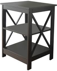 wooden chair side. Espresso Finish Wooden X-Design Chair Side End Table With 3-tier Shelf