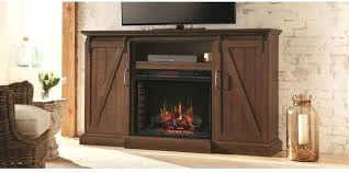 this chestnut hill media console with sliding barn doors and an infrared quartz electric fireplace was designed to add ambiance warmth your home door tv