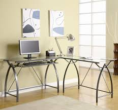 Modern glass office desks Executive Glass Office Desk Ideas Using Transparent Glass Computer Desk Combined With Curved Black Metal Legs Arthomesinfo Office Glass Office Desk Ideas Using Transparent Glass Computer