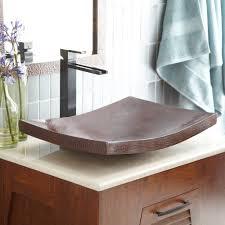 kohani curved copper vessel bathroom sink  native trails