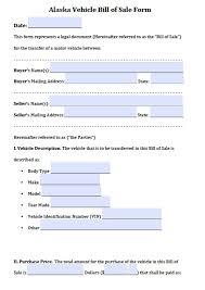 Free Alaska Vehicle Bill Of Sale Form Pdf Word Doc