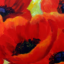 poppy painting original painting canvas art romantic gift for her red poppy flowers canvas painting fine art gift idea by miri lave