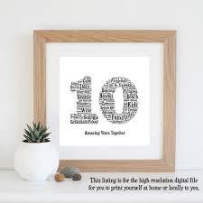 10th anniversary gift word art printable art 10 year anniversary 10th wedding
