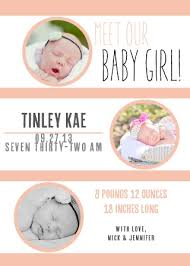 Announcement For Baby Girl Baby Girl Birth Announcements Photo And No Photo Announcements