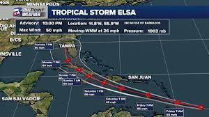 Tropical Storm Elsa moving quickly ...