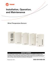 Trane Temp Sensor Resistance Chart Wired Temperature Sensors Installation Operation And