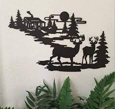 deer and lodge in woodlands metal wall art by cabin ironworks rustic mountain country home on pine tree forest metal wall art with amazon deer and lodge in woodlands metal wall art by cabin