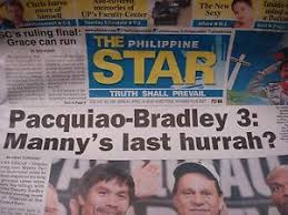 The term tabloid journalism refers to an emphasis on such topics as sensational crime stories, astrology, celebrity gossip and television. Manny Pacquiao Vs Tim Bradley Sunday Morning April 10 2016 Philippine Star Ebay