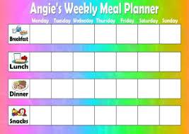 Personalised A4 Diet Weekly Meal Planner Family Menu